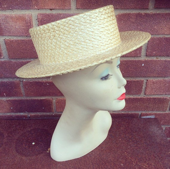 Original 1920 s Straw BOATER Hat Great Gatsby Chap  5654c15b4a0