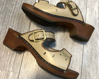 1970's Scholl Deadstock Leather & Wooden Clog Sandals - In Box - Made in England - Boho - Size UK 3