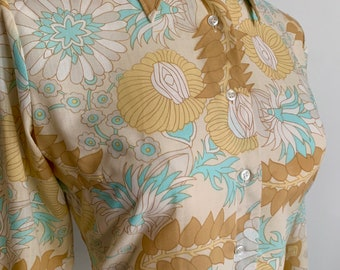 1970's Naughty Kitsch Novelty Print Shirt - Psychedelic Floral Labia - Hippy - Twiggy - Boogie Nights - Size UK 10