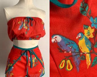 1970's Novelty Parrot Print 2 Piece Beachwear Set - Shorts - Tube Top - Deadstock - Size S/M - UK 8-12