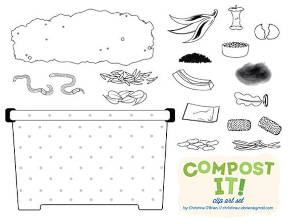 picture about Printable Compost List identified as Compost It! Compost Bin Clip Artwork Fixed
