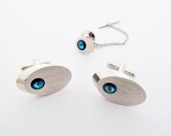 Sarah Coventry Blue Surf Modernist Silver Tone and Blue Rhinestone Cufflink and Tie Tack Set