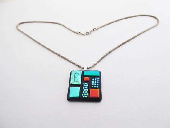 handmade fusing glass necklace bubbles dark amber square pendant glass pendant Necklace pendant Fused Glass