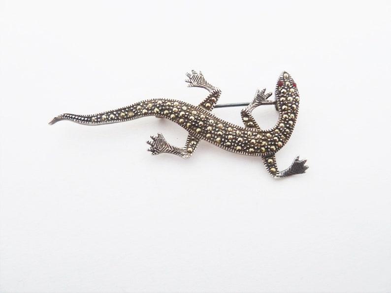 Vintage Sterling Silver and Marcasite Lizard Gecko Brooch with Garnet Eyes