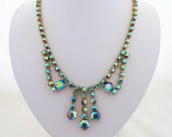 Vintage Blue Green Aurora Borealis Rhinestone Swag and Tassel Necklace