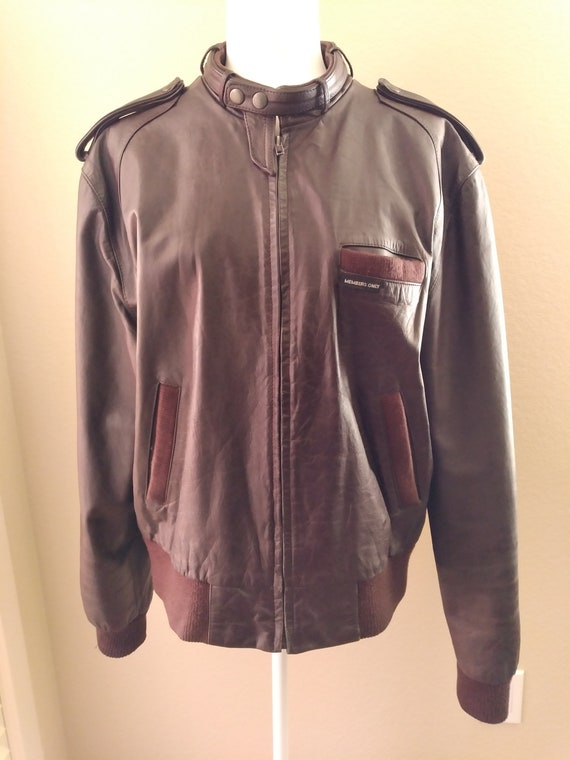 Members Only brown leather jacket