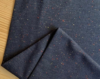 Navy Cosy Colours Flecked Cotton Fleece Backed Sweatshirt Jersey Knit Fabric - sold by the quarter metre