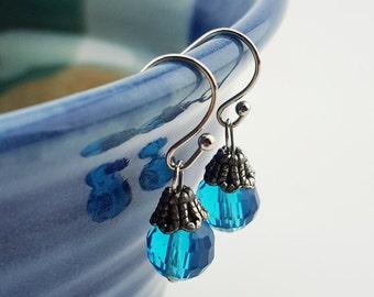 Clear Blue dangle earrings - Blue jewelry - blue dangle drop earrings - 20's 40's jewelry - something blue earrings - handmade drop earrings