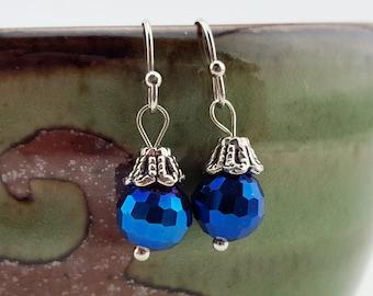 Iridescent blue dangle earrings - blue jewelry - classic earrings - something blue earrings - minimalist tiny blue earrings - blue dangles