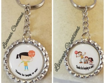 Crossing guard  keychain gift, School, Male or Female Version