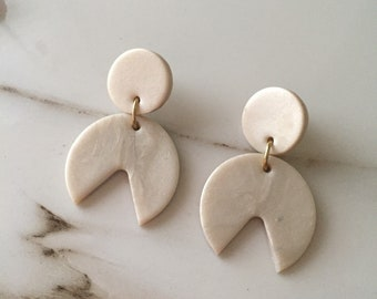 Pearlescent White Clay Dangle Statement Earrings