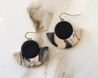 Marbled Clay Dangle Earrings- Nude and Black
