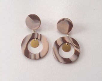 Brown Tone Marble Clay and Brass Disc Statement Earrings