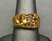 Men 39 s Vintage Estate C1960 1.70 carat Golden Citrine Solitaire Mid Century Nugget Ring 925 Gold Vermeil Nugget Ring Sz 10
