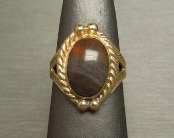 Vintage South American Estate Victorian Style 925 Gold Vermeil Natural Jasper Solitaire Ring Sz 6