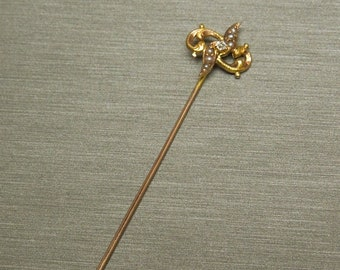 """Antique Victorian Estate C1890 14K Rose + Yellow Gold Seed Pearl & Old Rose cut Diamond Sword Style Stick Pin 2.5"""""""
