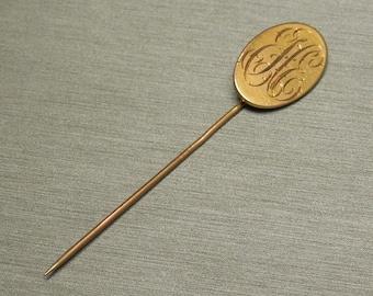 """Antique Victorian Estate C1890 10K Gold Monogram Initial """" EEH / EHE """" Stick Pin 2.75"""""""