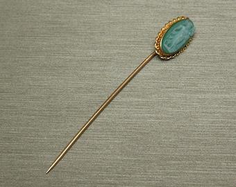 "Antique Victorian Estate C1890 10K Gold Green Hard Stone Roman Lady Cameo Stick Pin 2.25"""