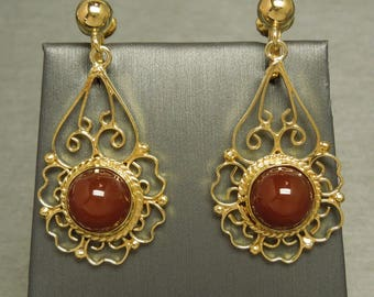 """Vintage Estate C1950 925 MEXICO Gold over Sterling Silver Filigree Carnelian Dangling Hanging Chandelier Style Earrings 1.75"""""""
