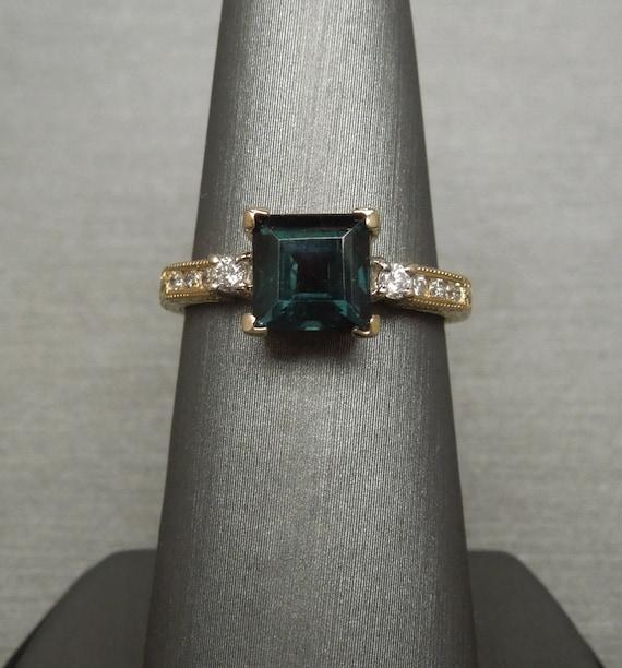 Vintage diamond engagement ring Mid century illusion setting Sz 7.5 Yellow Gold Milgrain White Gold petite diamond promise ring gift for her