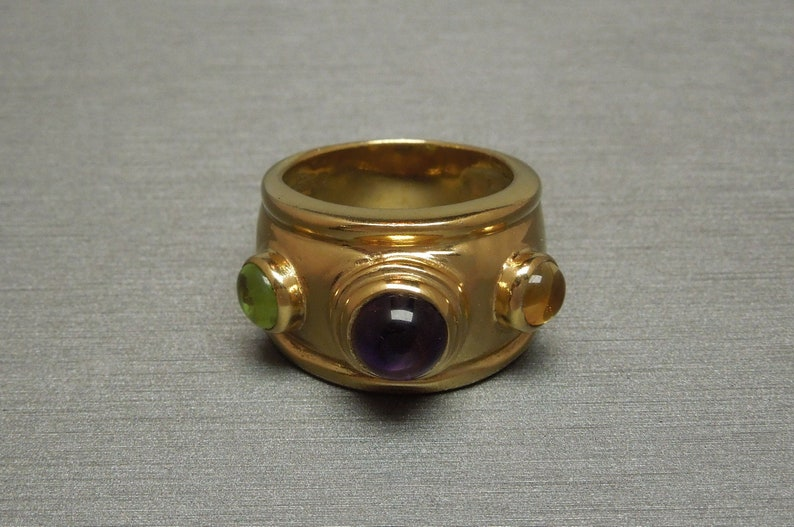 Vintage Estate C1980 Gold Vermeil Sterling Wide Band Three Stone 2.10TCW Amethyst Peridot /& Citrine Domed Statement Ring Sz 7