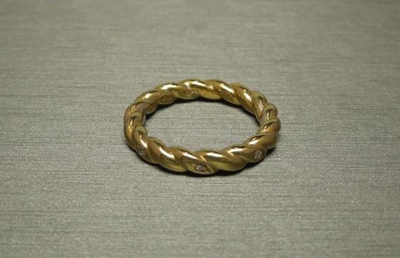 Vintage Estate C1980 Gold Vermeil 0.25TCW Single cut Diamond Woven Rope Eternity  Wedding Band Sz 7