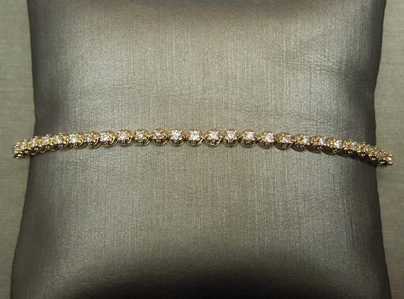 Vintage Sterling Multi Round Smooth Circular Design Tennis Line Link Station Bracelet       #294