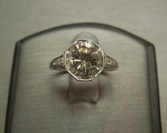Antique Estate C1920 18K White Gold Filigree Etched Engraved 2.49TCW Bezel set 2.35ct Diamond Solitaire L I2 Engagement Ring Sz 6.5