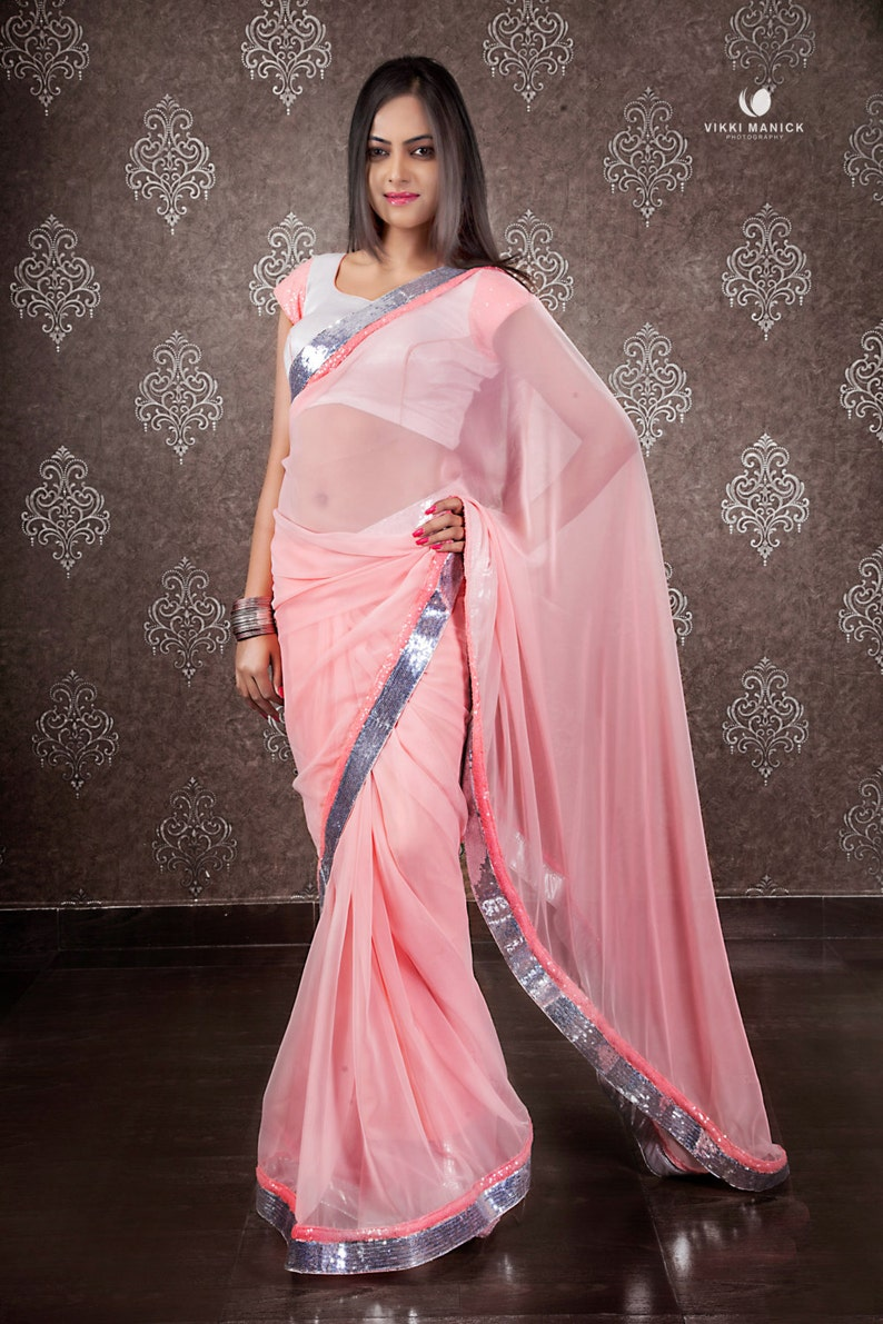 c5173fa7d61a34 Beautiful Light Pink chiffon Saree with matt silver blouse | Etsy