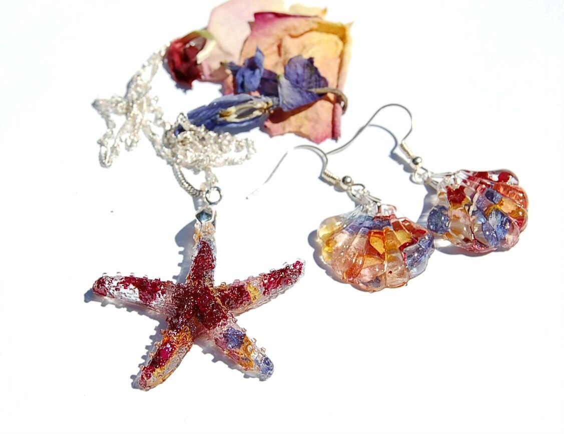 Preserved Flower Starfish Seashell Set Beach Jewelry Etsy