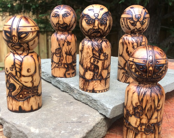 King Pawn: Upgrade item for Hnefatafl games; each completely unique & detailed.  Wooden customized 'People Peg' toy, pawn - MADE TO ORDER
