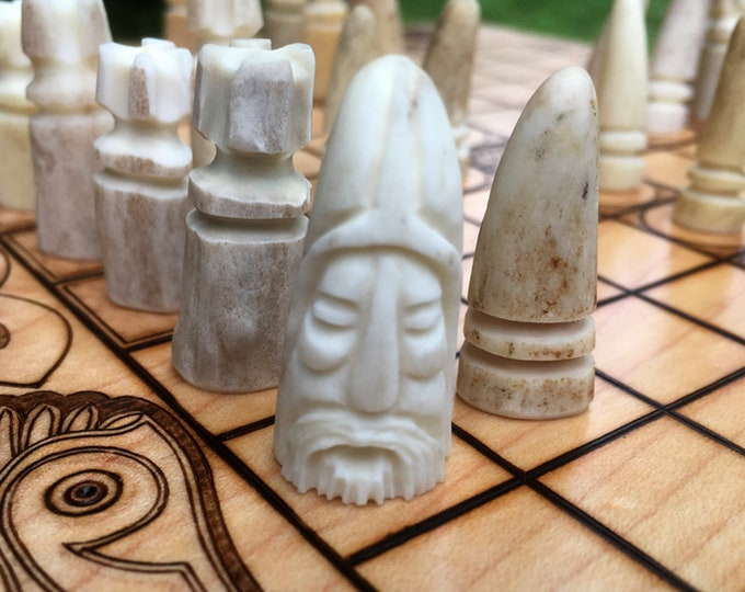 Carved Antler Pawns: Upgrade item for Hnefatafl games, each set uniquely created - handcrafted & carved from real antler - MADE TO ORDER