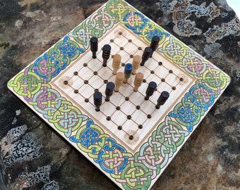 Mini Hnefatafl Game: Brandub - Traditional Irish Board Game, Miniaturized w/ Cribbage Peg Pcs., Laser Engraved Artwork & Watercolor Accents
