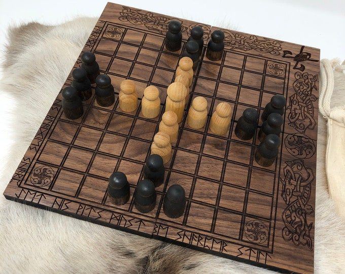 READY TO SHIP - Hnefatafl: Tablut - portable folding Hnefatafl Game, Traditional Handcrafted Wooden Board Game w/ novel design, Black Walnut