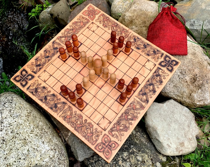 Featured listing image: Hnefatafl: 9x9 square grid; historic Finnish Tablut & modern 'Papillon's Escape' variants, Handcrafted Traditional Board Game – Customizable