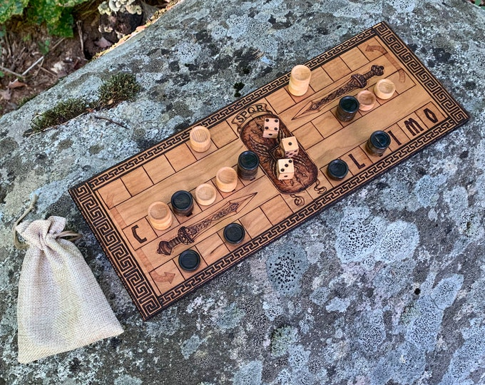 Ludus Duodecim Scriptorum: an ancient Roman racing game for two players, handcrafted w/ wood-burned artwork; customizable - MADE TO ORDER