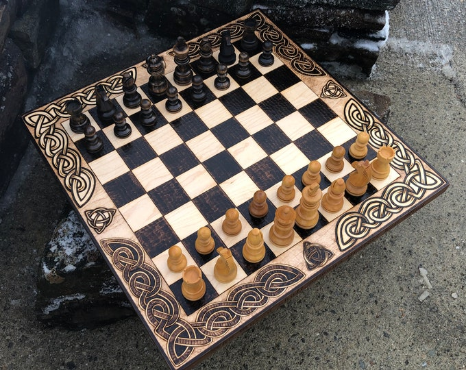 Chess & Checkers combo Game Board w/ wooden pieces, Handcrafted Wood strategy games w/ Burned Artistic Details, customizable - MADE TO ORDER