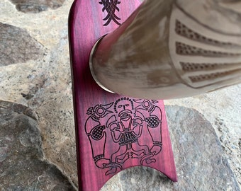 Mead Horn Stand, Handcrafted Vessel Holder, Exotic Purpleheart Wood Stand for Drinking Horns, Feastware, Laser Engraved Art, Customizable