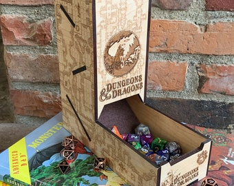 Dice Tower: Board Game/RPG gaming aid, Dungeons & Dragons, Tabletop Wargames, laser-engraved / handcrafted, durable maple Dice Rolling Chute