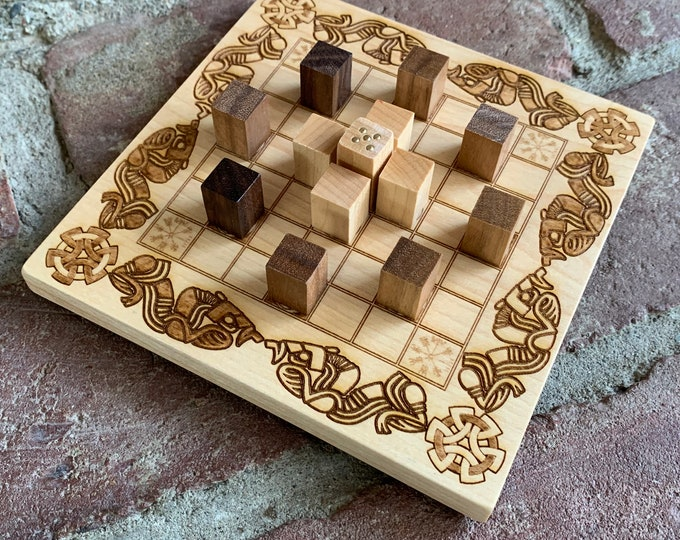 READY TO SHIP - Mini Hnefatafl Game: Magpie - Modern Irish Board Game & Block Pawns, Maple Wood, Laser Engraved Artwork; Woodburned Accents