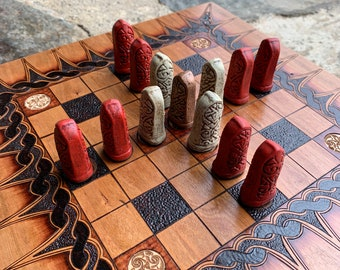 Picture Stone playing pieces, Painted Polystone, set of 13 total pawns, for Hnefatafl games w/ 7x7 grid, Hand cast & painted - READY TO SHIP