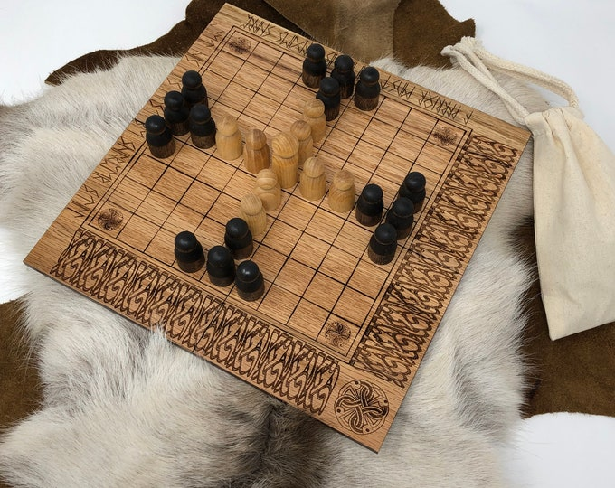 READY TO SHIP - Hnefatafl: Tablut - portable folding Hnefatafl Game, Traditional Handcrafted Wooden Strategy Board Game w/ novel design, Oak