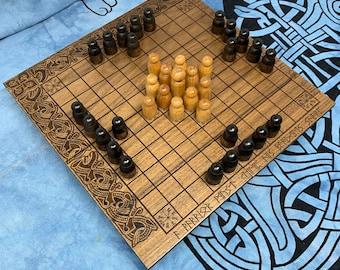 Skjaldborg Hnefatafl: Portable folding Tafl Game, Traditional Wooden Board Game w/ novel design, Handcrafted & Customizable - MADE TO ORDER