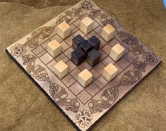 READY TO SHIP - Mini Hnefatafl Game: Magpie - Modern Irish Board Game w/ Block Pawns, Walnut, Laser Engraved Artwork & Woodburned Accents