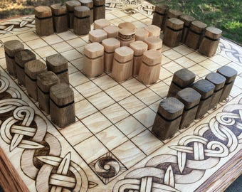 Obelisk Pawns: Upgrade item for Hnefatafl games - handcrafted wooden playing pieces with a more modern style, maple & walnut - MADE TO ORDER