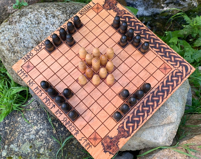 Hnefatafl: Portable compact folding Hnefatafl Game, Traditional Wooden Board Game w/ novel design Handcrafted & Customizable - MADE TO ORDER