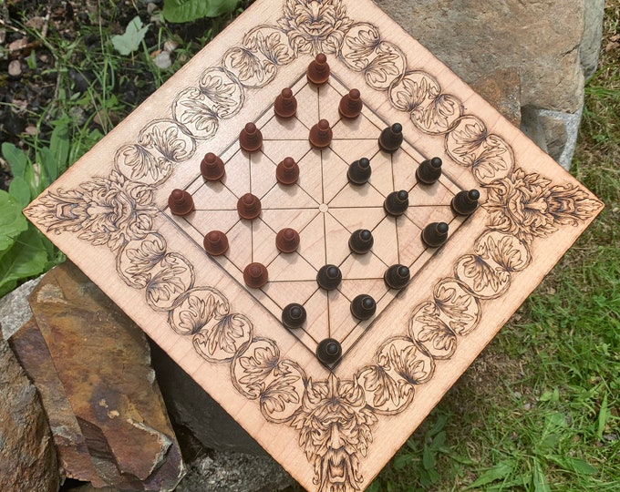 Alquerque: A customizable handcrafted wooden board game of Moorish origin, w/ wood-burned artwork & many custom options - MADE TO ORDER