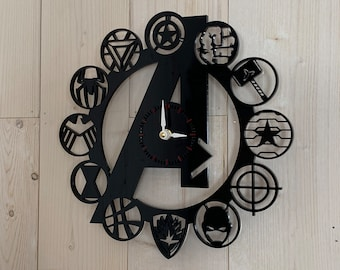 Wall Clock - Laser-Cut Acrylic, hand-assembled Marvel Avengers Assemble clock crafted from cast acrylics, laser cut symbols - READY TO SHIP