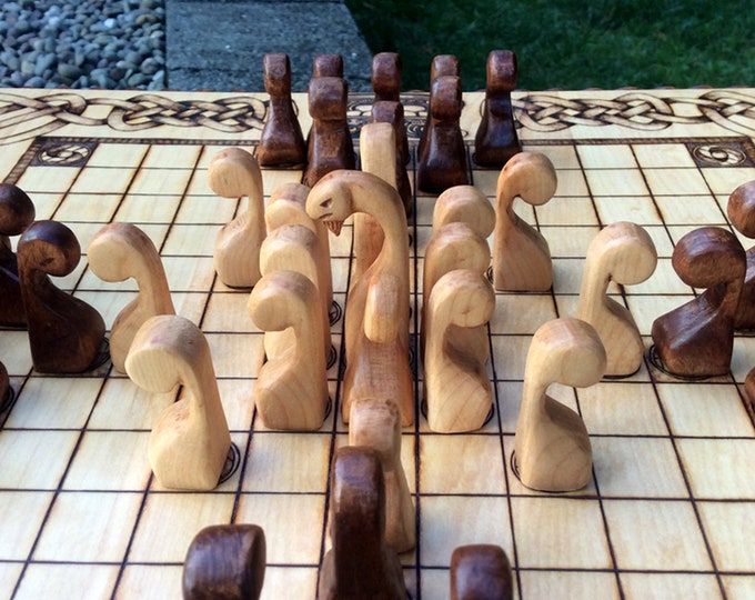 Ships Prow Pawns: Upgrade item for Hnefatafl games - handcrafted custom wooden playing pieces resembling Viking ship's prow - MADE TO ORDER
