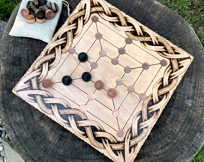 Merels: Six, Nine & Twelve-Men's Morris Game, Mills Game, ancient strategy game, Traditional wooden board game, handcrafted - MADE TO ORDER